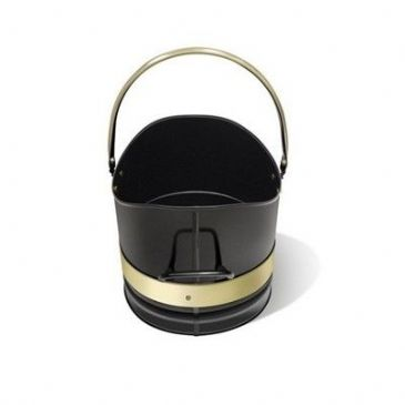 "COAL BUCKET 10"" DIA BLACK + BRASS BANDS"